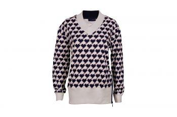 Cherie Fleece Hearts V-Neck Pullover