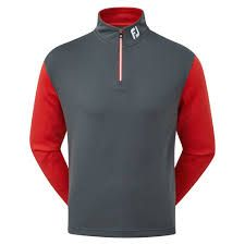 Footjoy Chillout 1/2 Zip (Herren,Grau-Rot) Layer